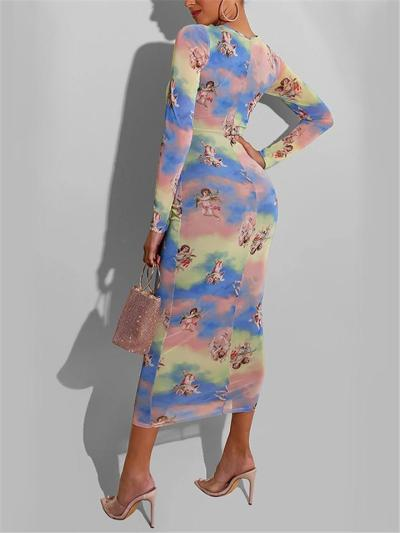 Fashionable Cartoon Printed Long Sleeve Bodycon Maxi Dress