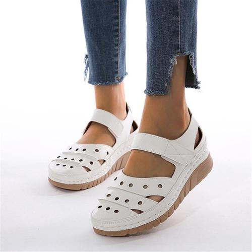Casual Style Velcro Cutout Closed-Toe Wedge Heel Soft Footbed Sandals
