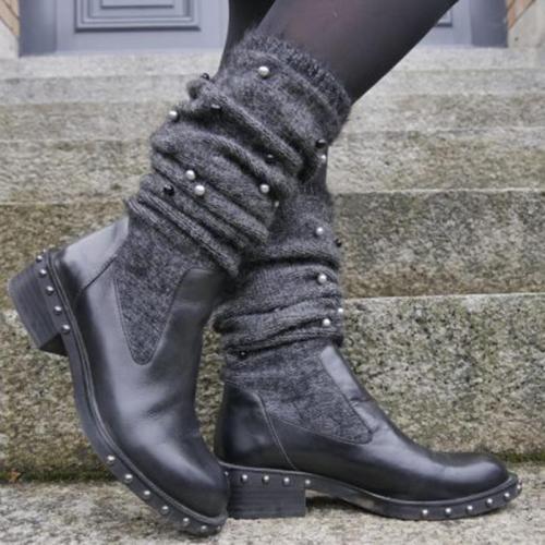 Retro Style Rivet Deco Chunky Heel Mid-Calf Boots