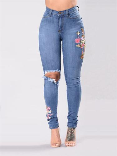 Slim Fit High-Rise Floral Embroidery Multi-Pocket Skinny Jeans