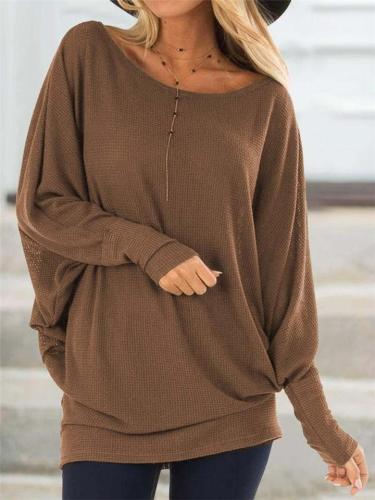 Relaxed Fit Round Neck Pullover Solid Color Sweater