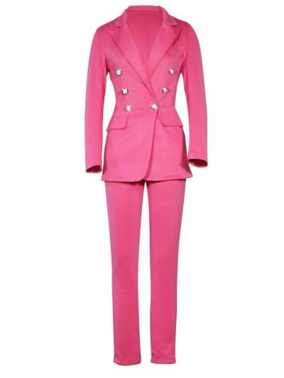Fitted Two Piece Suit Button Up Blazer + Straight Leg Pants