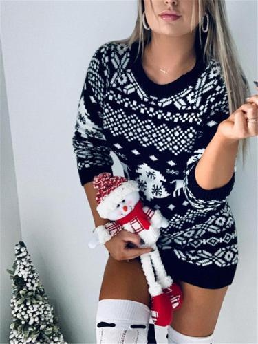Christmas Theme Knitted Long Sleeve Dress