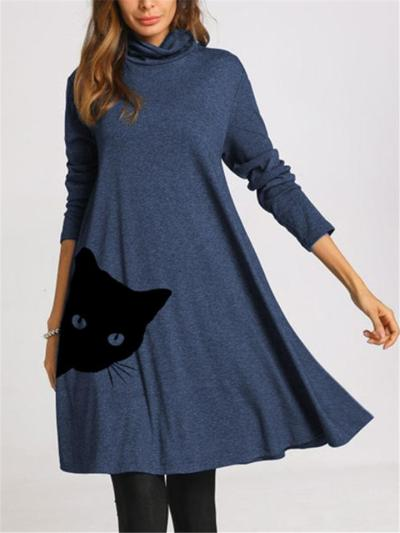 Fashionable Cowl Neck Printed Long Sleeve Pullover Midi Dress