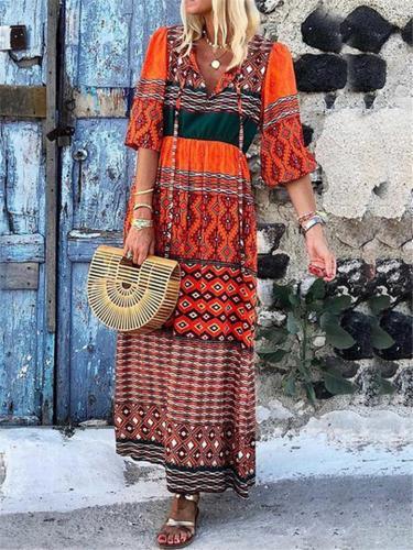 Bohemian Style V Neck Half Sleeve Loose Fit Maxi Dress