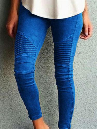 Women's Fashion Solid Elastic Skinny Pants
