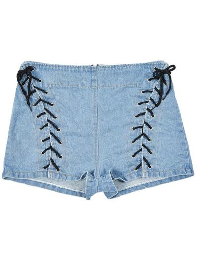 Sexy Fashion High-Waist Lace-Up Design Denim Hot Shorts