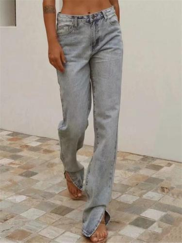 Fashionable High-Rise Zipper Button Pocket Slit Cuff Straight Denim Pants