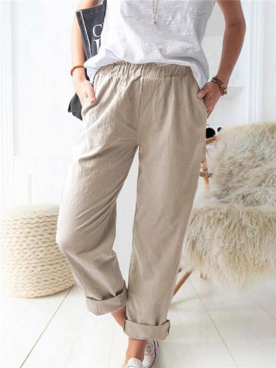 Casual Fit Elastic Waistband Solid Color Straight Leg Pocket Pants