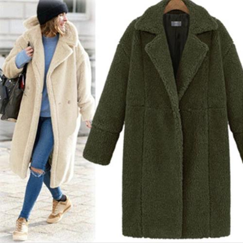 Women's Fashion Long Sleeve Solid Color Casual Coat
