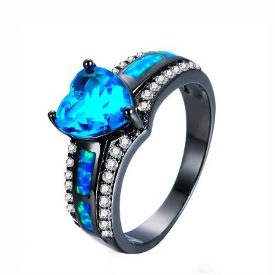 Glittering Blue Opal Elevated Heart Shimmering Stones Ring