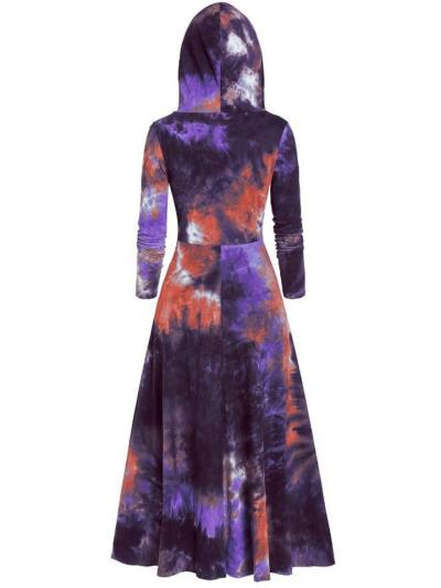 Retro Style Tie-Dye Drawstring Hooded High-Low Pullover Cloak Dress