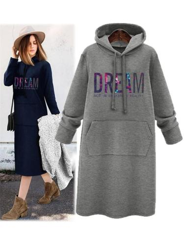 Dream Letter Printing Hooded Sweatshirt Dress with Pocket