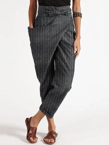 Vertical Striped High Waist Belts Harem Pants With Pocket