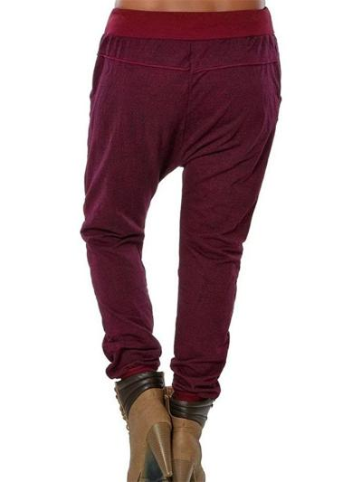 Regular Fit Dropped Crotch Drawstring Pocket Loose Harem Pants