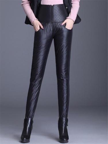 Fur Lining Waterproof Zipper Up High-Rise Down And Woolen Trousers