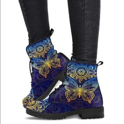 Creative Cartoon Printed Lace Up Non-Slip Short Boots
