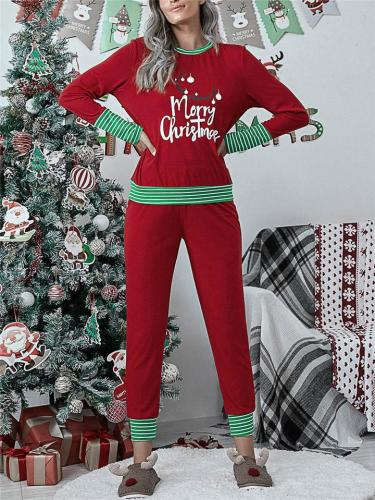 Christmas Themed Pajamas Santa Claus Striped Tops + Trousers