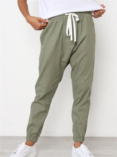 Casual Fit Elastic Waist Drawstring Straight Leg Pocket Pants