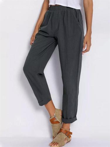 Vintage Style Elastic Waist Solid Color Pants