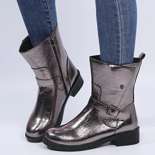 Women's Stylish Side Zipper Buckle Up Low Heel Boots