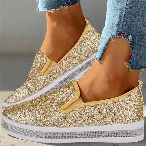 Stylish Low-Cut Sequined Slip-On Thick Sole Flat Loafers
