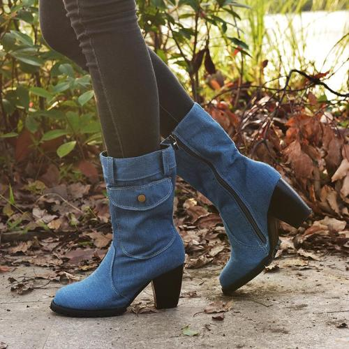 Women's Stylish High Heeled Denim Ankle Boots