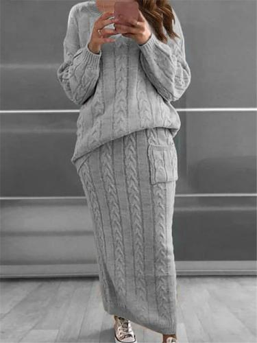 Knitted Sweater Sets Long Sleeve Pullover Tops + Maxi Skirt