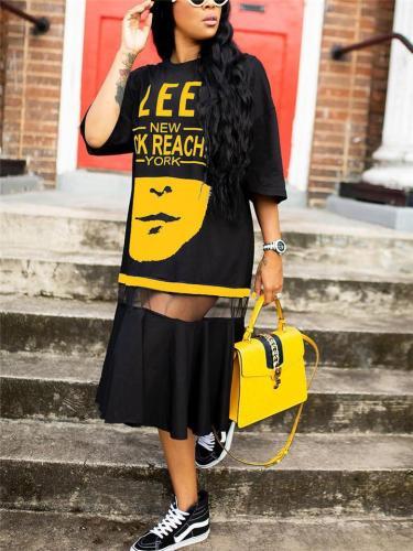 Stylish Letter Printed Half Sleeve Round Neck Mesh Long Dress