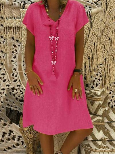 Relaxed Fit V Neck Solid Color Short Sleeve Midi Length Shift Dress