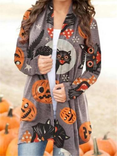 Stylish Open Front Halloween Themed Pumpkin Cardigan