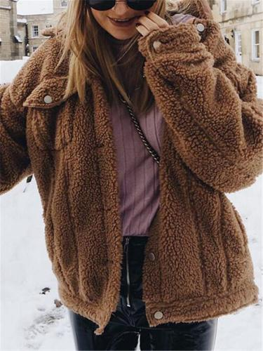 Ultra Cozy Button Up Collar Fur Coats with Pockets