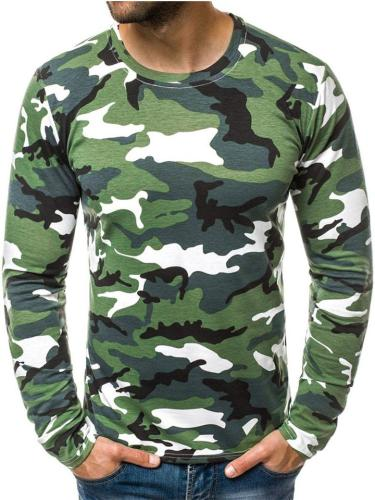 Easy Fit Camouflage Round Neck Long Sleeve Pullover Shirt