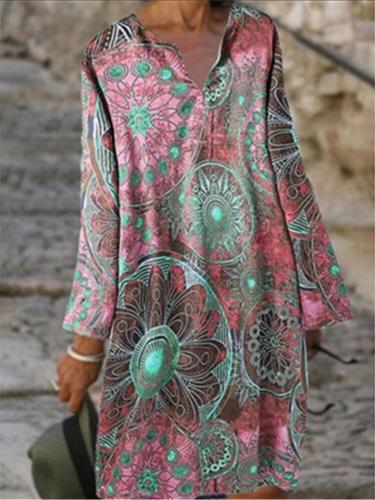 Loose Fit Lapel Collar Floral Printed Long Sleeve Pullover Midi Dress