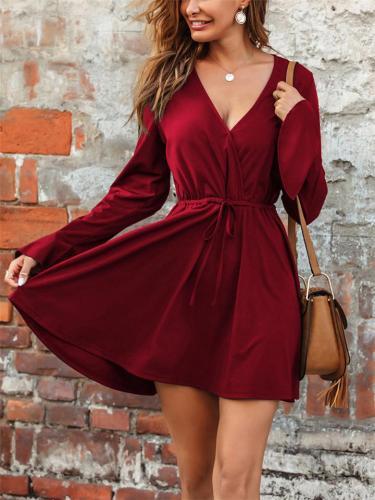Flowy Deep V Neck Long Sleeve Solid Color Waist Tie Mini Dress