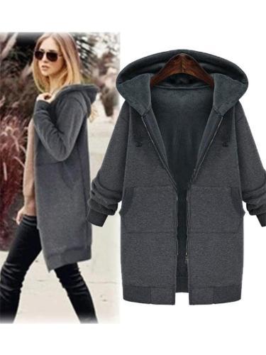 Midi Length Zipper Up Thicken Fleece Hooded Coat