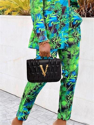 Tree Printed Two Piece Suit Button Up Blazer + Straight Leg Pants