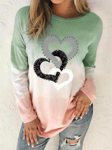 Casual Fit Round Neck Heart Printed Tie-Dye Long Sleeve Tops