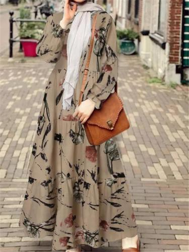 Retro Style Floral Long Sleeve Pleated Flare Maxi Dress
