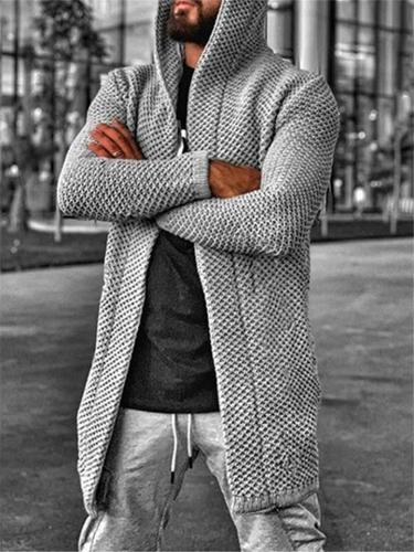 Mens Solid Color Rib Cardigan With Hooded