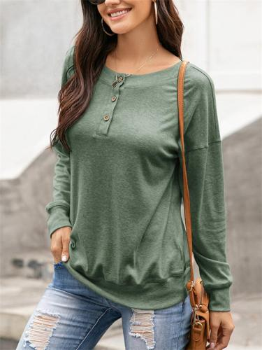 Soft Touch Crew Neck Button Up Long Sleeve Basic Tops