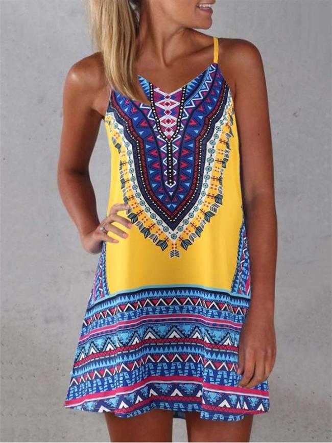 Ethnic Style V Neck Strappy Geometric Pattern Flare Mini Dress