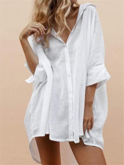 Relaxed Fit Lapel Collar Half Sleeve Button Up Sun Shirt Cotton Linen Blouse