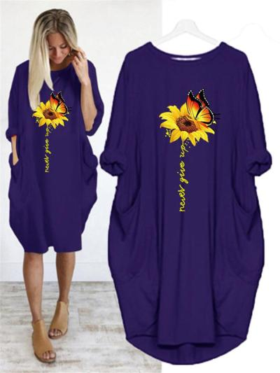 Oversized Round Neck Sunflower Butterfly Long Sleeve Midi Dress