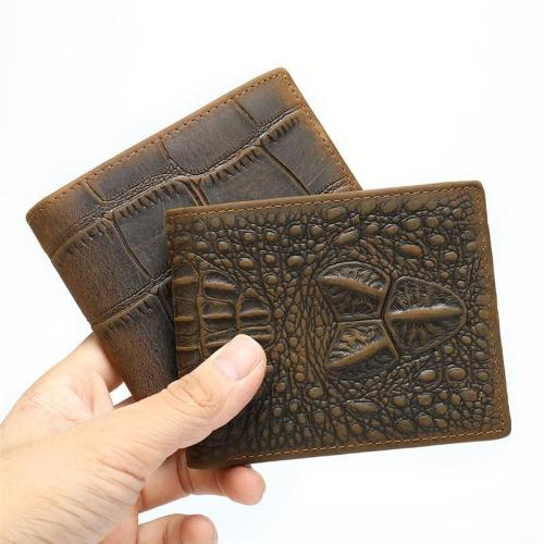 Men's Casual Durable Alligator Pattern Bifold Short Wallet