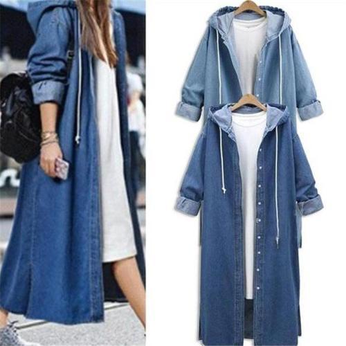 Fashion Casual Long Sleeve Hoodie Denim Coat