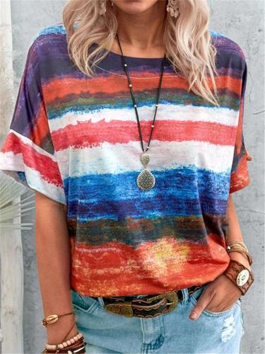 Oversized Fit Crew Neck Contrasting Striped Modern Silhouette T-Shirt
