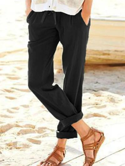 Casual Fit Solid Color Drawstring Pocket Straight-Leg Linen Pants