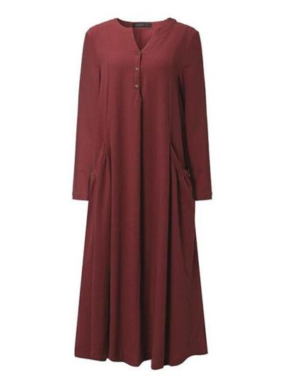 Oversized V Neck Solid Color Long Sleeve Pullover Midi Dress