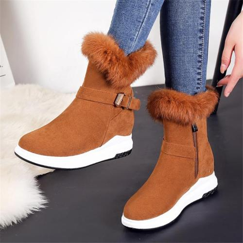 Cozy Warm Anti-Slip Fur Trim Side Zipper Buckle Up Snow Boots